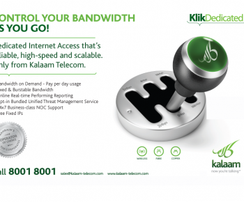 Kalaam's 'bandwidth-on-demand' option provides freedom to extend bandwidth limits in real-time